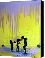 Neo Expressionism Canvas Prints - Get Your Feet Wet Canvas Print by Robert Wolverton Jr