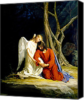 Angel Canvas Prints - Gethsemane Canvas Print by Carl Bloch