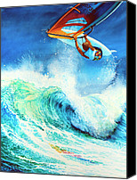 Beach  Wind Surfing Canvas Prints - Getting Air Canvas Print by Hanne Lore Koehler