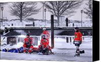 Pond Hockey Canvas Prints - Getting Ready Canvas Print by Don Nieman