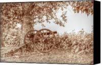Civil War Anniversary Canvas Prints - Gettysburg Battlefield Cannon Seminary Ridge Sepia Canvas Print by Randy Steele