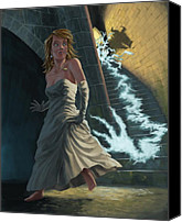 Creepy Canvas Prints - Ghost Chasing Princess In Dark Dungeon Canvas Print by Martin Davey