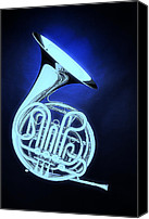 Brass Band Canvas Prints - Ghost French Horn on Bluw Canvas Print by M K  Miller