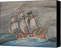 Stormy Drawings Canvas Prints - Ghost Pirate Ship Canvas Print by Jaime Haney