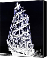 Black And White Yacht Canvas Prints - Ghost Ship Canvas Print by Methune Hively