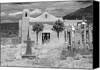 Santa Fe Digital Art Canvas Prints - Ghost Town Church Canvas Print by Sonja Quintero