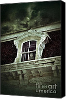 Haunted House Photo Canvas Prints - Ghostly Girl in Upstairs Window Canvas Print by Jill Battaglia