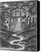 Ghosts Drawings Canvas Prints - Ghosts night at the Jerome Grand Hotel Canvas Print by Ingrid  Szabo