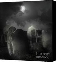 Spooky Photo Canvas Prints - Ghosts wandering in old cemetery  Canvas Print by Sandra Cunningham