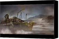 Spooky Digital Art Canvas Prints - Ghostship Canvas Print by Karen Koski