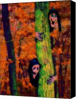 Halloween Scene Canvas Prints - Ghouls at Play Canvas Print by Jen White
