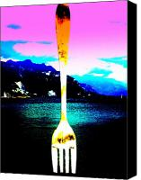 Modern Landscape Canvas Prints - Giant Fork in Lake Geneva Canvas Print by Funkpix Photo  Hunter