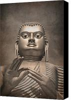 Thai Canvas Prints - Giant Gold Buddha vintage Canvas Print by Jane Rix