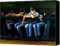Major League Baseball Painting Canvas Prints - Giants Dugout Canvas Print by Char Wood