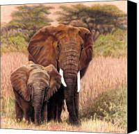 Elephant Pastels Canvas Prints - Giants Of Kenya Canvas Print by Carol McCarty