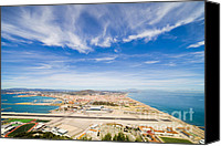 Block Canvas Prints - Gibraltar Airport Runway and La Linea Town Canvas Print by Artur Bogacki