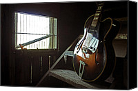 Gibson Guitar Canvas Prints - Gibson Reflections Canvas Print by Lauri Novak
