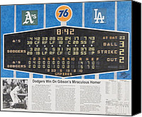 Baseball Drawings Canvas Prints - Gibsons 1986 World Series Homer Canvas Print by Marc Yench