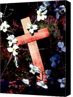 Florida Flowers Canvas Prints - Gift Cross and Dogwood Canvas Print by John Foote