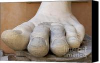 Works Canvas Prints - Gigantic foot from the statue of Constantine. Rome. Italy. Canvas Print by Bernard Jaubert