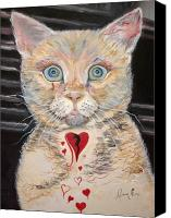 Abstract Cat Portrait Canvas Prints - Gilbert with the Broken Heart Canvas Print by Ann Willmore