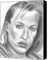 T-shirt Drawings Canvas Prints - Gillian Anderson Canvas Print by Rick Hill