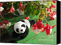 Baby Panda Canvas Prints - Ginny Under The Red And White Fuchsia Canvas Print by Ausra Paulauskaite