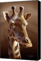 Airbrush Art Digital Art Canvas Prints - Giraffe Canvas Print by Cesar Guerrero