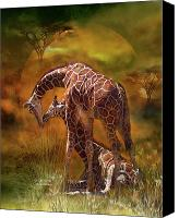 Animal Art Print Mixed Media Canvas Prints - Giraffe World Canvas Print by Carol Cavalaris