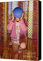 Pajamas Canvas Prints - Girl blowing up balloon Canvas Print by Sami Sarkis