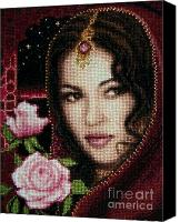 Metallic Tapestries - Textiles Canvas Prints - Girl from Alhambra Canvas Print by Stoyanka Ivanova