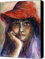 Person Drawings Canvas Prints - Girl in a red hat portrait Canvas Print by Svetlana Novikova