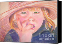 Tomboy Canvas Prints - Girl in Straw Hat Canvas Print by Julie Brugh Riffey