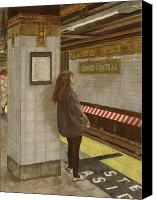 Nyc Pastels Canvas Prints - Girl in the Subway Canvas Print by Ann Caudle