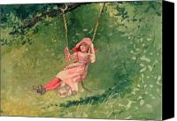 Carefree Canvas Prints - Girl on a Swing Canvas Print by Winslow Homer