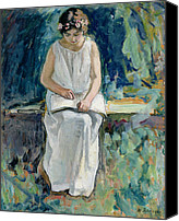 Toga Canvas Prints - Girl Reading Canvas Print by Henri Lebasque