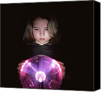 Plasma Photo Canvas Prints - Girl Touching A Plasma Globe Canvas Print by Kevin Curtis