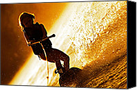 Susan Leggett Canvas Prints - Girl Wakeboarding Silhouette Canvas Print by Susan Leggett