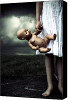Naked Canvas Prints - Girl With A Baby Doll Canvas Print by Joana Kruse