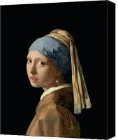 Jewellery Canvas Prints - Girl with a Pearl Earring Canvas Print by Jan Vermeer