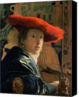 Turning Painting Canvas Prints - Girl with a Red Hat Canvas Print by Jan Vermeer