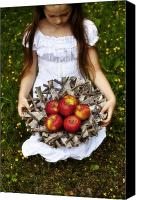 Turf Canvas Prints - Girl With Apples Canvas Print by Joana Kruse