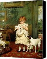 Oil On Canvas Canvas Prints - Girl with Dogs Canvas Print by Charles Burton Barber