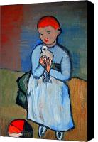 From Painting Special Promotions - Girl with dove after Picasso Canvas Print by Kostas Koutsoukanidis