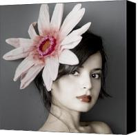 Featured Photo Canvas Prints - Girl With Flower Canvas Print by Emma Cleary