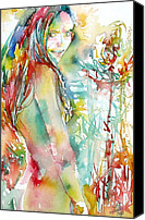 Turning Painting Canvas Prints - GIRL with FLOWERS portrait.2 Canvas Print by Fabrizio Cassetta