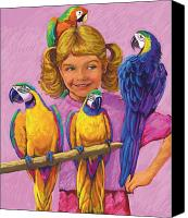 Girls Pastels Canvas Prints - Girl With Parrots Canvas Print by Valerian Ruppert