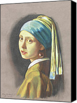Great Pastels Canvas Prints - Girl with pearl earring by Vermeer Canvas Print by Kean Butterfield