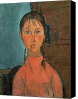 Kid Painting Canvas Prints - Girl with Pigtails Canvas Print by Amedeo Modigliani