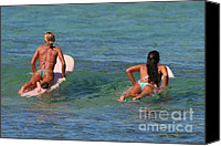 Bikini Canvas Prints - Girls Go Surfing Canvas Print by Paul Topp